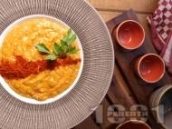 Гъста крем супа от боб с пушен червен пипер
